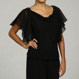 Laxmi Womens Black Bead embellished Flutter Sleeve Top