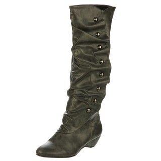 Madden Girl Womens Zaney Grey Tall Studded Boots FINAL SALE