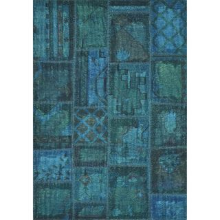 Hand woven Ava Wool Blue Patchwork Rug
