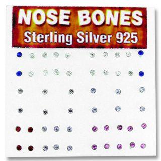 Silver Multicolor Crystal Nose Bone (Set of 52)