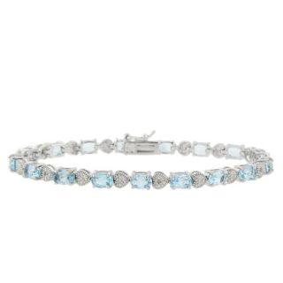 Sterling Silver Blue Topaz and Diamond Accent Heart Bracelet