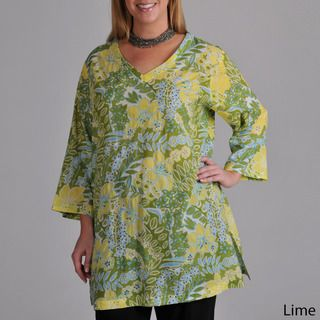 La Cera Womens Plus Floral Cropped Sleeve Tunic Top