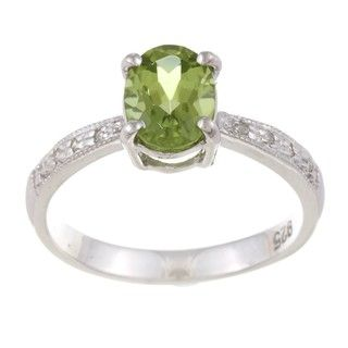Sterling Silver Oval cut Peridot and Diamond Accent Ring