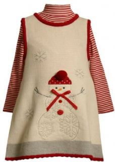 Bonnie Jean Girls Snowman Embroidered Sweater Jumper Set