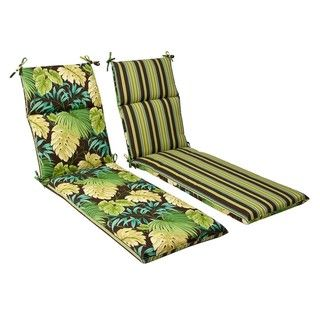 Pillow Perfect Outdoor Green/ Brown Tropical/ Striped Reversible