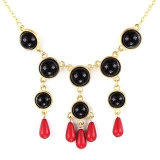 Goldtone Black and Red Faux Stone Bead Drop Bib Necklace