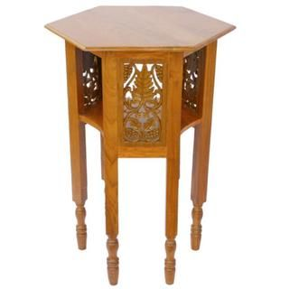 EXP Natural Teak Wood End table with Carved Wood Panels