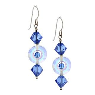 MS DJ Casanova Sterling Silver Sapphire Circle Crystal Earrings