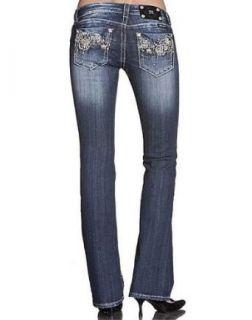 Womens Miss Me Jeans Flower Applique Boot Cut Designer