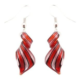 Bleek2Sheek Murano Inspired Glass Black and Silver Twist Earrings