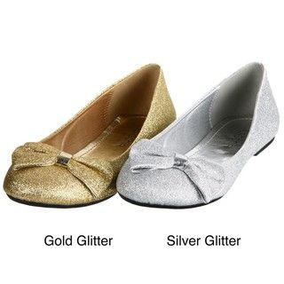 Lasonia Womens Gold Glitter Round toe Flats