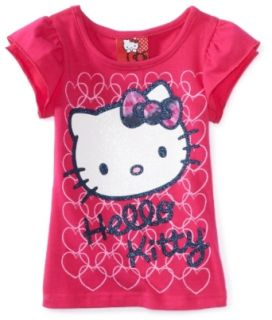 Hello Kitty Girls 2 6X Short Sleeve Top, Pink, 2T
