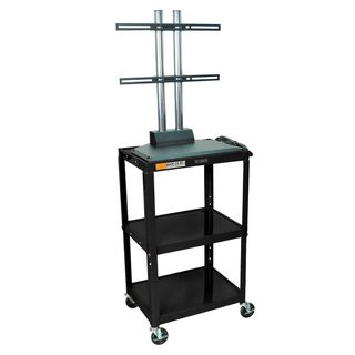 Luxor 24 42 Inch High Black Open 3 Shelf Flat Panel Adjustable AV Cart