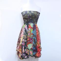 Womens Cotton Colorful Ruffled Tube Dress (Nepal)