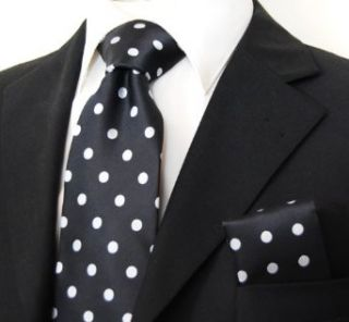 Brand Q Polka Dots Necktie and Pocket Square Black Silver