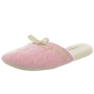 Jo Gladstone Womens Cashmere Cable Slipper Clog,Pink,Medium Shoes