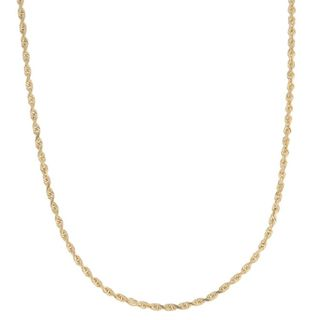 Roberto Martinez 14k Yellow Gold Diamond cut Rope Chain Necklace (1.5