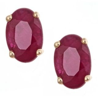 Yach 14k Yellow Gold Ruby Stud Fashion Earrings