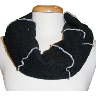 Cuff Luv Black Sweater Knit Infinity Scarf with Contrast Stitching