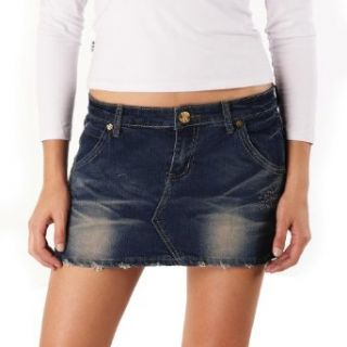 Jessie G. Womens Low Rise Distressed Crinkle Denim Mini
