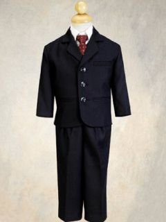 5 Piece Navy Blue Pin Striped Suit with Burgundy Tie