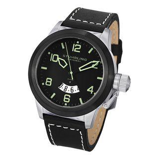 Stuhrling Original Mens Pilot Quartz Leather Strap Watch