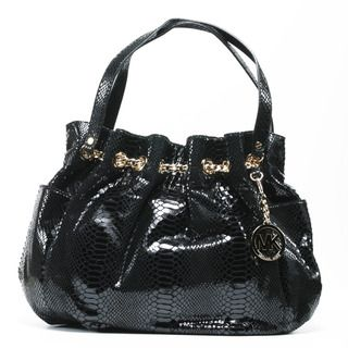 MICHAEL Michael Kors Womens Black Leather Chain Ring Tote Bag