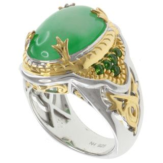 Michael Valitutti Two tone Silver Green Jade Ring