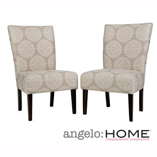 angeloHOME Bradford Filigree Cream Tan Armless Chair Set (Set of 2