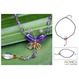 Stainless Steel Butterfly Amethyst Citrine Necklace (Thailand