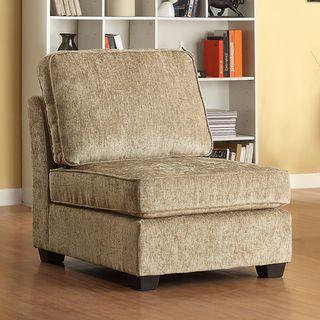 Barnsley Armless Brown Beige Chenille Chair