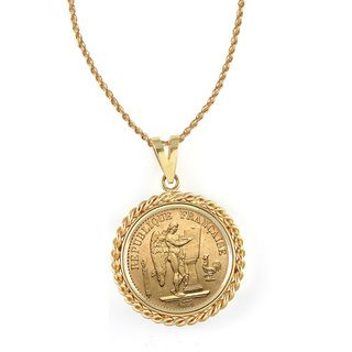 14k Gold French 20 Franc Lucky Angel Gold Piece Coin Rope Bezel