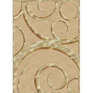 Hand carved Alexa Velvet Loops Ivory Faux Silk Rug (53 x 76