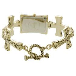 Geneva Womens Textured Cross Toggle Watch