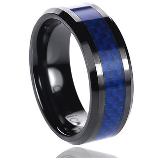Daxx Ceramic Blue Carbon Inlay Band (8 mm)