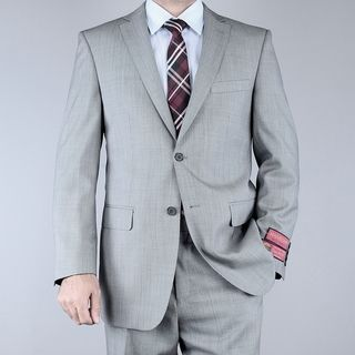 Mantoni Mens Classic Fit Birdseye Grey Black 2 button Wool Suit