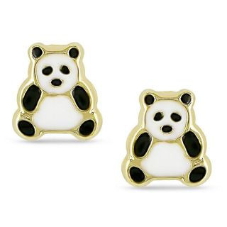 14k Yellow Gold Panda Bear Baby Earrings