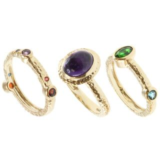 Michael Valitutti Gold Multi gemstone 3 piece Ring Set