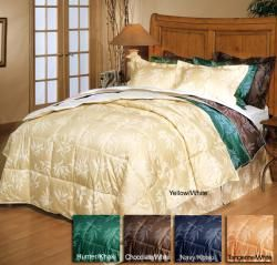 Reversible color 3 piece Feather/ Down Comforter Set