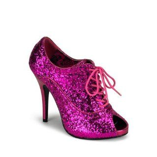 Hot Pink Glitter Peep Toe Oxford Bootie   9 Shoes