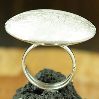 Brushed Sterling Silver Round Disc Ring (Mexico)