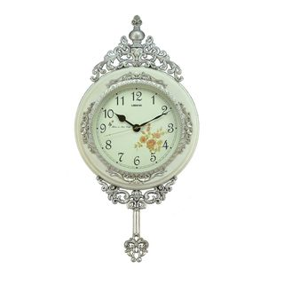 Fabulous Antique Linseng Wooden Pendulum White Wall Clock (24x15