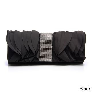 Furmani Ruffled Satin Rhinestone Detail Clutch