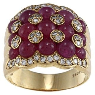 18k Yellow Gold Ruby and 1/2ct TDW Diamond Estate Ring (I J, SI1 SI2