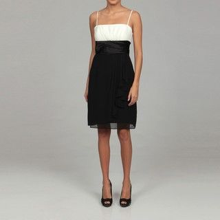 Sandra Darren Womens Ivory/ Black Chiffon Dress