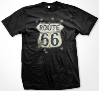Route 66 Sign With Bullet Holes Mens T shirt, Americas