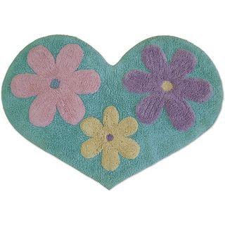 Jovi Home Madeline Blue Floral Heart Bath Rug