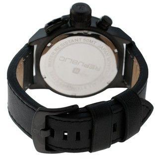 Republic Mens Leather Strap Black/ Grey Watch