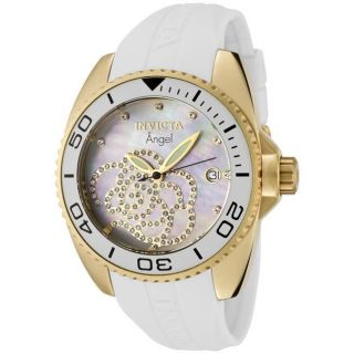 Invicta Womens Angel White Rubber Strap Crystal Watch