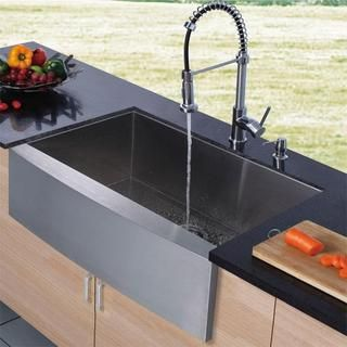 Vigo Farmhouse Stainless Steel Kitchen Sink, Chrome Faucet and